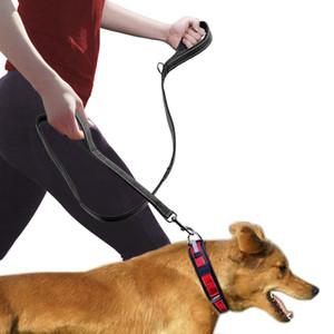 Neues Design Hundeleine 2 Griffe Schwarz Nylon gepolsterte Doppelgriff-Leine für mehr Kontrolle Sicherheitstraining Schützen Sie den Hund im Straßenverkehr