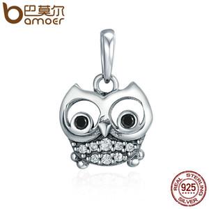 Pandora Style Venta caliente 925 Sterling Silver Lovely Owl Animal Charms encantos ajuste mujeres pulseras del encanto collares joyería DIY