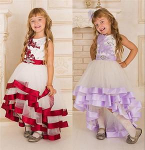 Robes colorées pas cher fille fleur bijou col perles écharpes Tulle Applique Dentelle Salut-Lo Kid Girl 'robes Pageant à vendre BA0596