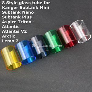 Tubes en verre Pyrex de remplacement interchangeables pour Kanger Subtank Toptank Mini Nano Plus Triton Atlantis v2.0 Arctic tfv8 prince