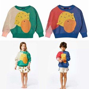 Modèles INS 2 couleurs nouvelle fille enfants automne hiver manches longues en coton pur multicolore chandail tricoté motif de fruits de dessin animé pour les enfants
