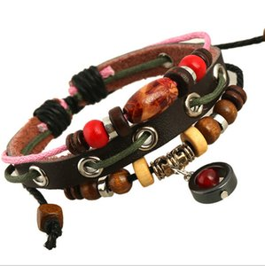 Promotion! New Design Fashion Handmade Personalized Cowboy Punk Style Wooden Beads Dangles Rope Leather Bracelet For Unisex Jewelry