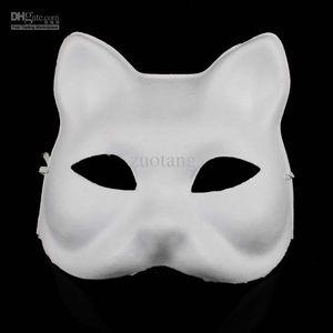 DIY Blank Boyasız Kedi Maskeler Düz Beyaz Çevre Kağıt Hamuru Masquerade Yarım El Güzel Sanatlar Programları Boyama Maske