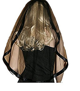 Encantador de una capa de velo corto nupcial con peine Ribbon Edge tul barato velo de la boda accesorio de la boda envío gratis en stock