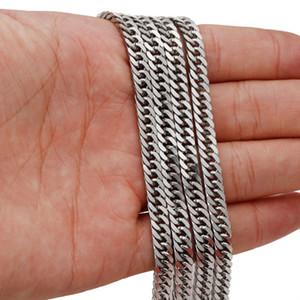 Buon prezzo in massa Lotto 5 Metri 4mm Argento 316L Acciaio inossidabile Catena di alta qualità Curb Catena di gioielli che trova Collana DIY 4mm Largo