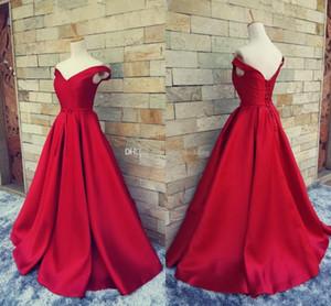 Fotos reais vermelho longo fugitivo tapete vermelho vestido de noite para as mulheres vestido formal com fora do ombro até o chão de cetim vestidos de baile festa