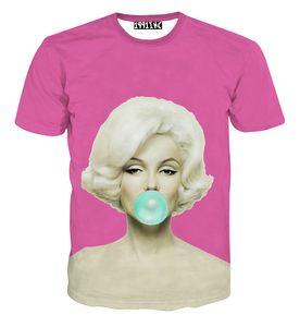 FG1509 2015 جديد أزياء مثير النساء 3d تي شيرت مطبوعة مارلين مونرو قميص الصيف المتناثرة camiseta الأنثوية تي شيرت قمم الملابس
