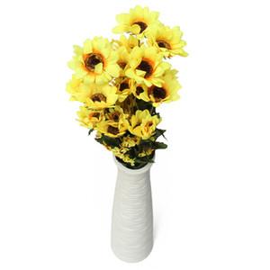 Nagelneues schönes Design 54 Blütenköpfe Kunstseide Sonnenblumenstrauß Pflanze Hausgarten Dekoration bestellen $ 18no Spur
