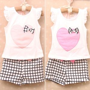 Girls Love Plaid Costs Plaid Fashion Floral Off Ouvrir une gilet à manches volantes + Pantalon de taille Kid Vêtements d'été DHL Livraison gratuite MOQ: 240Sets SVS0339 #