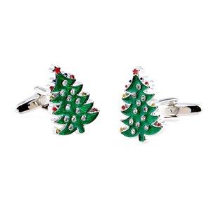 2016 New Fashion Christmas Series Cufflink- Christmas Tree - Green Color