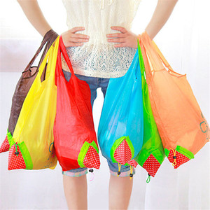 Creative Strawberry pattern shopping bag Folding environmental protection bag Moda Portable Storage handbag decorative cloth bag IA960