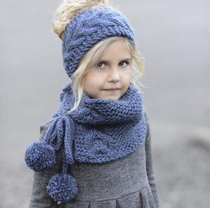 New Autumn Winter Baby Kids Knitted Headband Cap Neck Warmer 2pcs Set Girls Children Princess Crochet Warm Scarf M141