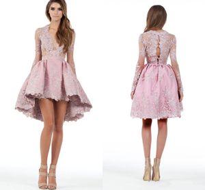 2018 Custom Made A Line maniche lunghe Hghi Low abiti da cocktail party Applique di pizzo immersi Homecoming Abiti Prom breve mini abito
