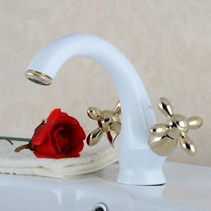 Neu Gegrillte Weiße Farbe Keramik Goldenen Poliert Kristall Griff Armaturen Badezimmer Basin Sink Mischbatterie Edle Wunderschöne