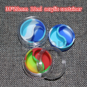 Food Grade 10mlSilicone Containers Round Concentrate Oil Wax Jars Dab Wax Container With Acrylic Shield For Dabs Pass FDA&LFGB Test