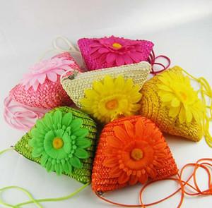 Femmes Filles Enfants Nouveau Fleur Sac à main Mini Straw Weave bourse épaule Croix Pièce de monnaie Sac de poche