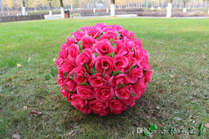 2015 New 12 inch 30cm Artificial Simulation Encryption Silk Rose Flower Kissing Ball for the New Year Festive Wedding Decorations Bouquet