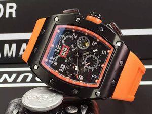 Atacado de luxo Mens relógio mecânico automático Borracha Buckles Felipe Massa Flyback esqueleto Transparente Homens de pulso Gift Box