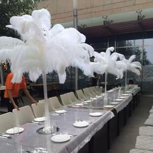 Ostrich Feathe 100pcs / lot Decoração da tabela do casamento da peça central Branca de penas de avestruz Plume Decoração do casamento Avestruz Centerpieces
