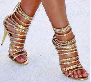 Sexy Gold Crystal Peep Toe Женщины Сандалии Роскошные Горный Хрусталь Strappy Высокие Каблуки Гладиаторы Сандалии Женщины Ночной Клуб Party Stilettos