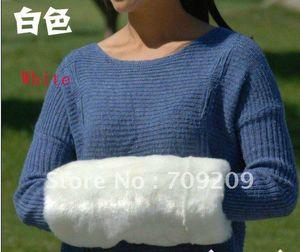 Scaldamuscoli in pelliccia sintetica all'ingrosso-bianchi scaldamani manicotto caldo per le mani cuscino della gabbia regali di Natale 36 * 18 cm