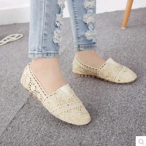 Весна и лето вырез кружева плоский круглый носок мелкий рот плюс размер женская обувь материнства один обувь хлопок-сделал обувь