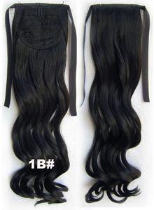 Prix de gros synthétique long lâche curl queue de cheval 22 pouces pas cher style cheveux morceaux ruban string facile à porter et à décoller