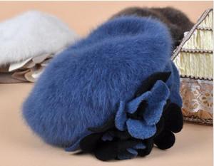 Gros-9 couleur bérets livraison gratuite luxe Angora béret chapeau hiver mode fine femme béret chapeaux Angora # 102625