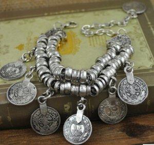 2015 New Bohemian Retro Carved tassels bracelet Gypsy Ethnic multilayer sets female fashioncoin charm bracelet for women