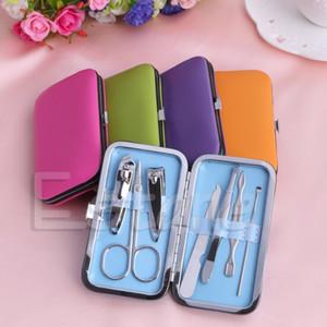 7pcs portable manucure set ongles soins tondeuses ciseaux voyage kits de toilettage affaire outil bleu vert rose chaud orange violet