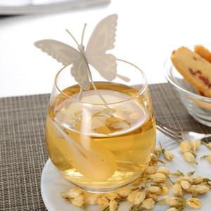 2017 горячие продажи бабочка чайные пакетики ситечки силиконовые чайная ложка фильтр Infuser кремнезема симпатичные чайные пакетики для чая кофе посуда G1203