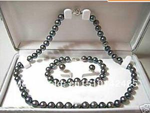 Новый штраф подлинной Жемчужина ювелирные изделия набор природных 8 мм черный жемчуг ожерелье браслет серьга набор