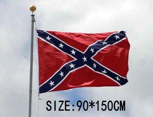 100 unids Dixie Banderas de batalla Guerra civil Confederada Banderas nacionales 150 * 90 cm Dos lados impresos Banderas de poliéster