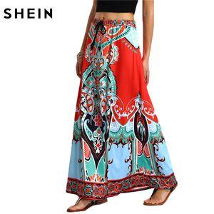 Al por mayor- SHEIN larga falda maxi para mujeres recién llegadas señoras multicolor Vintage Tribal Print Tassel atada cintura una línea falda