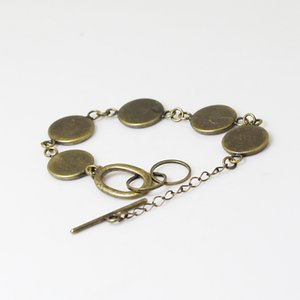 Beadsnice brass bracelet blank with 5 bezel setting bracelet crafts bracelet for 12mm round buttons glass cabochon and resin ID 12139