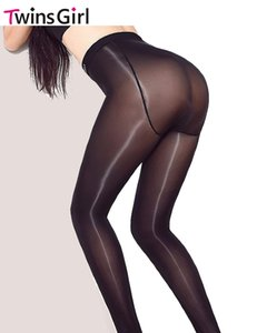 All'ingrosso- 8D alta densità elastica anti off seta hip highlight XL Plus cavallo collant nudo lucido lucido calze ammoniaca