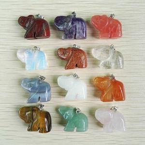 Pendentifs en pierre naturelle sculptée Charms éléphant pendentifs ajustement Colliers bijoux faisant 12pcs / lot en gros lot livraison gratuite