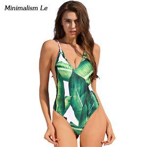 Atacado- Minimalismo Le 2017 New One Piece Swimsuit Sexy Swimwear das mulheres desgaste da praia atadura Imprimir Suits Maillot de bain Femme banho BK642