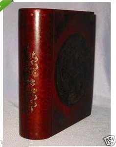 Chinese leather Wood carved Dragon Phoenix Book Jewelry Box