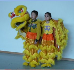 D NIÑOS de alta calidad pur Lion Dance Costume puro traje de león del león del león del traje de la mascota del león del color rojo