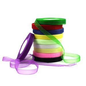 ¡VENTA! Regalo de la decoración de la boda Carfts 500 Yard Organza Ribbon Scrapbooking Decoración de la Navidad de alta calidad que envuelve cintas