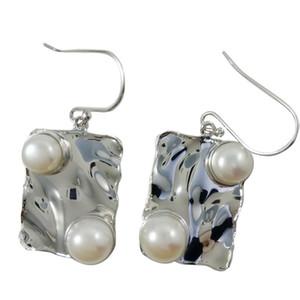 Diseñador hecho a mano pendientes de araña para E278 pendientes de perlas nupciales 925 perlas de agua dulce de plata cuelgan los pendientes en línea
