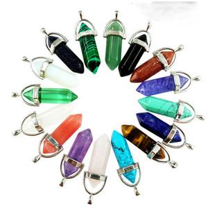 Heißer Verkauf Edelstein Rock Naturkristall Quarz Healing Point Chakra Stein Anhänger Halskette Halskette Charms