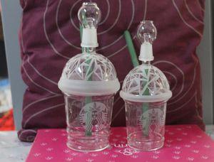 SANDBLASTED STARBUCKS 글래스 버블 러 오일 리깅 DIV 농축 오일 리깅 HITMAN GLASS X EVOL 글라스 DABUCCINO CUP 잎 10mm 14.5mm 18mm