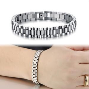 Whosales-мужские прохладный 10 мм 21 см серебро из нержавеющей стали 316L смотреть группа браслеты Регулируемая длина Мужские браслеты ювелирные изделия подарки