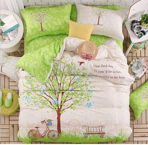 Green Tree twin bed set، مجموعات سرير قطنية رائعة مع 4 قطع للبيع