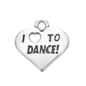 Livraison gratuite New Fashion Facile à bricoler 20 Pcs Lettre gravée I Love To Dance Coeur Charme bijoux fabrication de bijoux fit pour collier ou bracelet