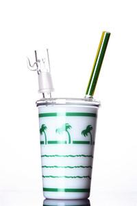 Small Cup Glass Dab Rig Portable per New Smokers porta il tuo tubo dell'acqua ovunque 8 pollici Joint da 14 mm