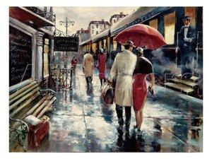 손으로 그린 고품질의 초상화 캔버스 풍경 그림 Brent Heighton Repro Metropolitan Station home décor