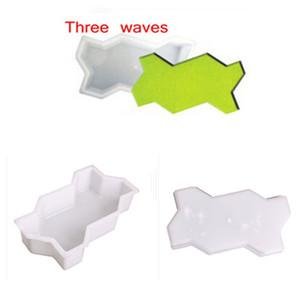 5 قطع ثلاث موجات شكل حديقة مسار ملموسة البلاستيك الطوب العفن diy رصف الرصيف الممشى قوالب الطوب الاسمنت